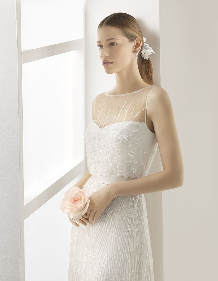 Ugo - Lightweight beaded bloused dress, in natural.