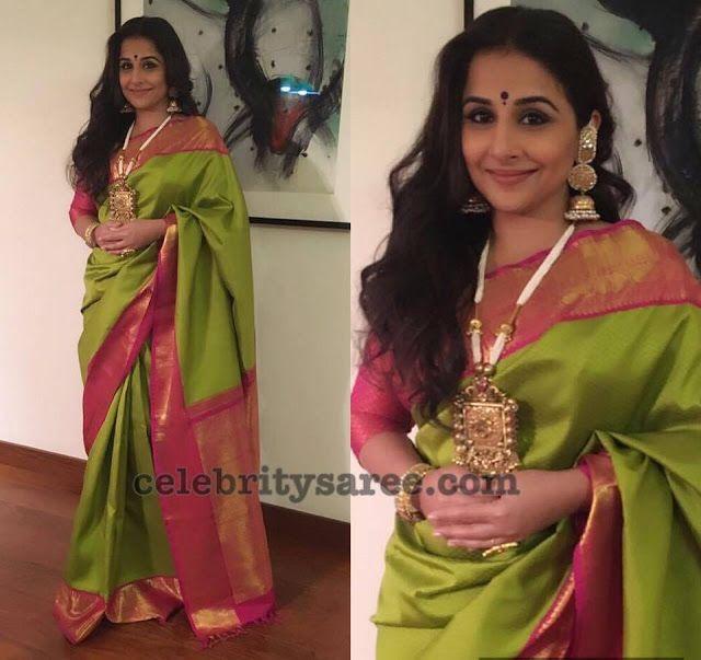 Vidya Balan in Neon Green Traditional Sari - Saree Blouse Patterns