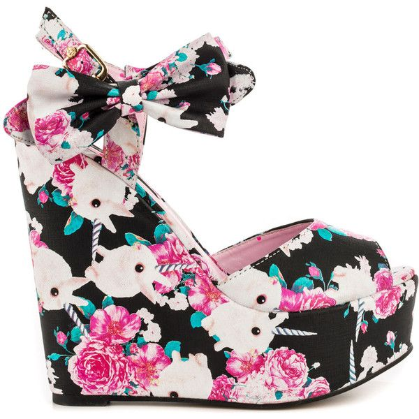 Iron Fist Women's Buns N Roses Wedge - Black ($70) ❤ liked on Polyvore featuring shoes, heels, wedges, black bow shoes, black wedge shoes, multi color wedge shoes, colorful shoes and bunny shoes