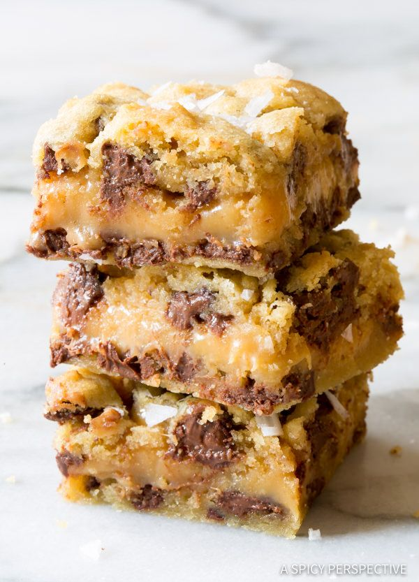 Amazing Salted Caramel Chocolate Chip Cookie Bars, with gooey caramel centers. This cookie bar recipe is so delicious, everyone will ask for the recipe.