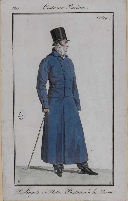 A gentleman's redingote. 1817 costume parisien