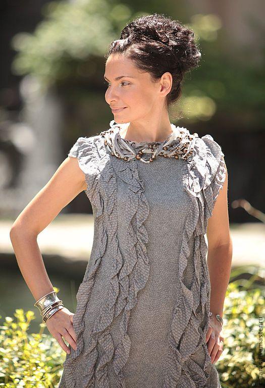 Купить grey dress - grey dress, nunofelting, felted dress, irena levkovich, серое платье