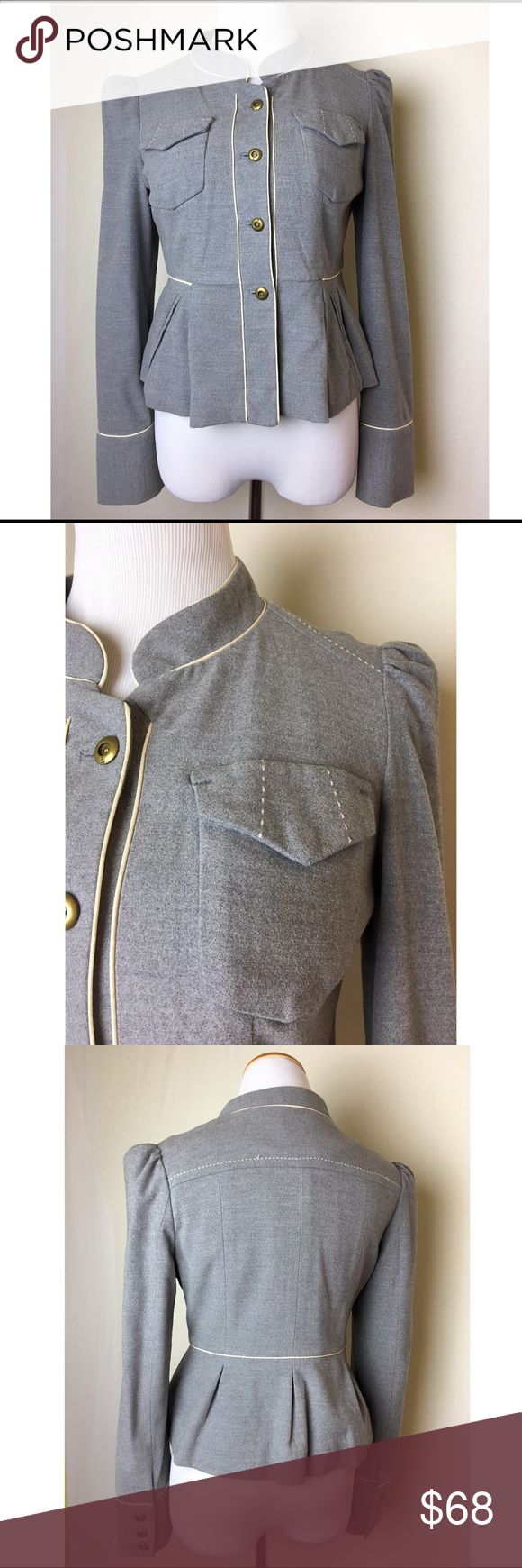 Beautiful grey Taikonhu jacket Military style peplum jacket with white piping and stitching detail. Brass buttons at front and sleeves. Mandarin collar. Fully lined. Excellent condition. Anthropologie Jackets & Coats