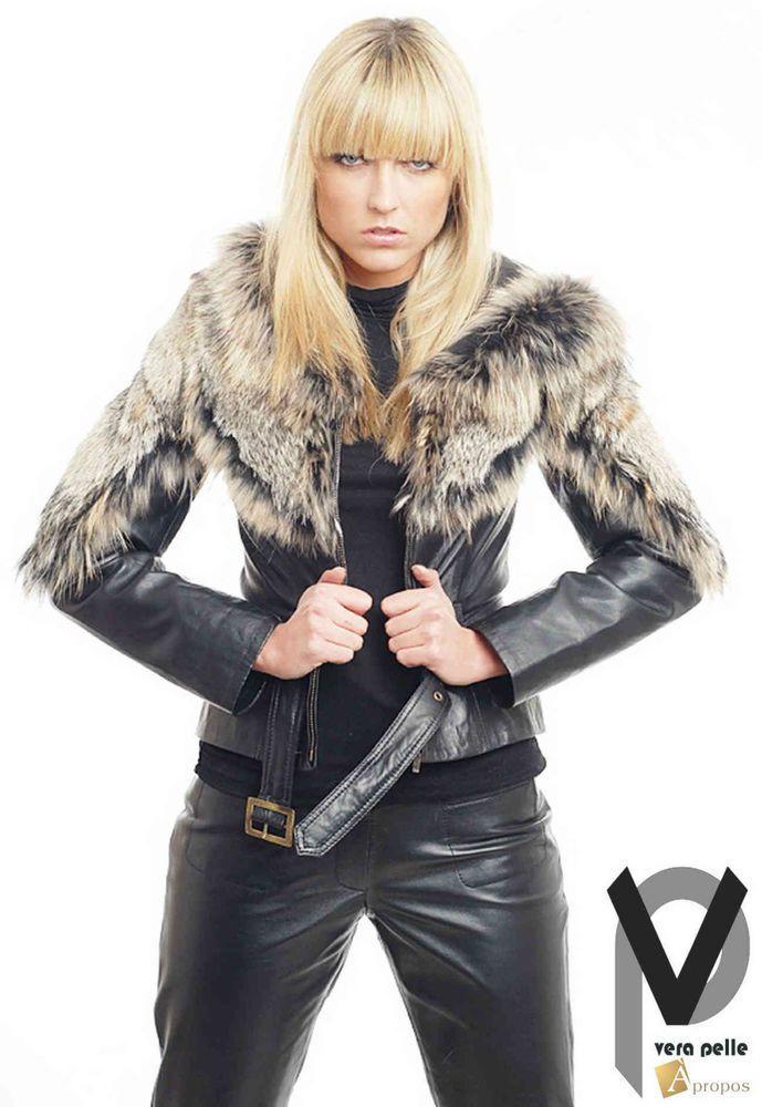Vera Pelle Bikerjacke Damen Leder Schwarz Pelz Taillenlang Luxus Italy Apropos