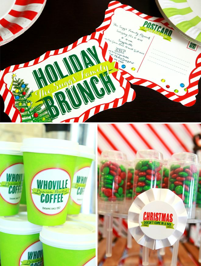 "How the Grinch Stole Christmas Holiday Brunch! I like the idea... Alot! Maybe for the brunch Cinnamon, Pumpkin, and Zucchini Bread. Quiches. And Biscuits ""n"" Gravy. Drinks include: Coffee, Tea, & Hot Chocolate.  Too Fun!"