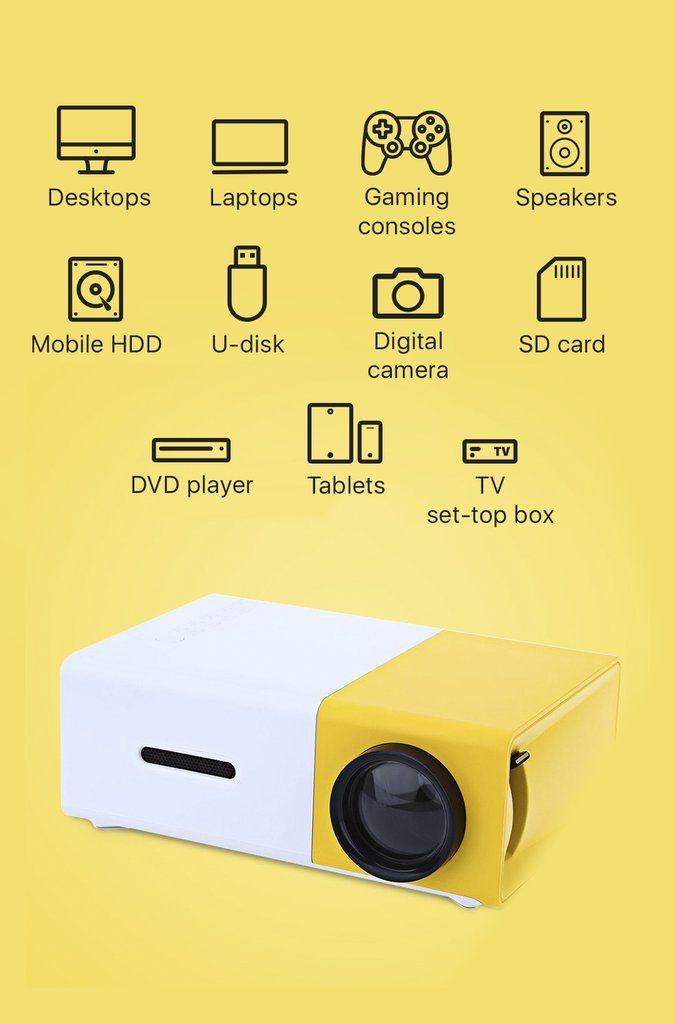 A WHOLECINEMA IN YOUR HOME! Small projector for a big things! Thiscomplete home entertainment system connects to all your devices andcompactenough to fit pe
