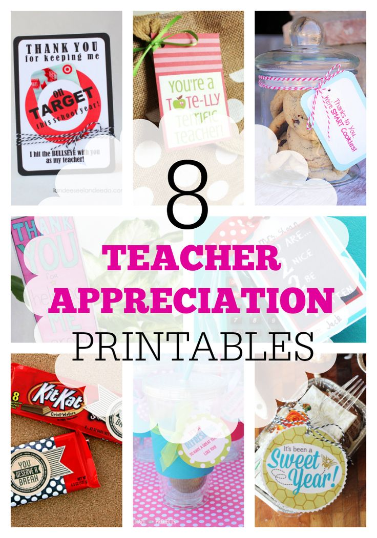 Teacher Appreciation Printables! Lots of really cute ideas to say thank you to all those awesome teachers. :)