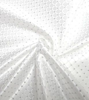 Glitterbug Satin Fabric 59''-White & Silver Diamond