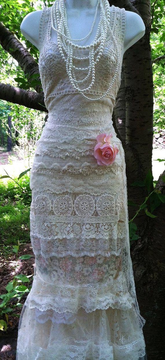 Gehaakte zeemeermin jurk lace ivoor crème tulle door vintageopulence
