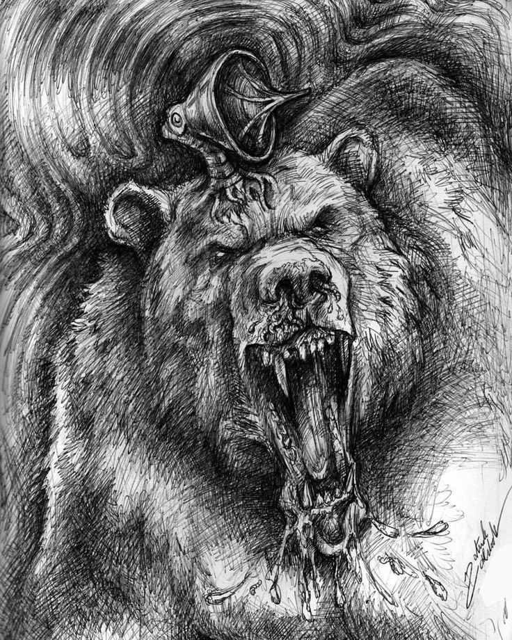 """adversary1: """"Today's drawing topic was a bear. Admittedly, I'll probably never draw one as good as this, which I created several years ago. It's the great bear Shardik from the Dark Tower by @stephenking. Also available in color. #bear #shardik..."""