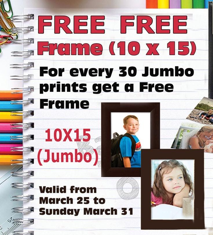 JUMBO PRINT PROMOSIE  Kom haal jou gratis fotoraam by Foto First Mosselbaai! Vir elke 30 jumbo prints (10x15) wat ons vir jou druk, kry jy 'n prag fotoraam, en as jy 60 jumbo prints laat doen, kry jy twee! Kom kyk hoeveel jy kan versamel. Geldig tot Sondag 31 Maart