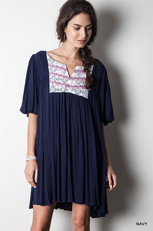 Umgee Navy Blue Woven Lace Peasant Dress www.boutiqueataudreys.com
