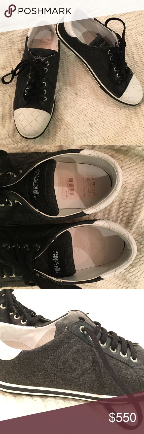 CHANEL black and white sneakers CHANEL sneakers with the signature logo on the outside of each shoe that is covered with fabric. White heel and toe accent. Leather trim. Size 37. Worn only once and in brand new condition. No box. Price sticker still inside of right shoe. Open to offers! CHANEL Shoes Sneakers