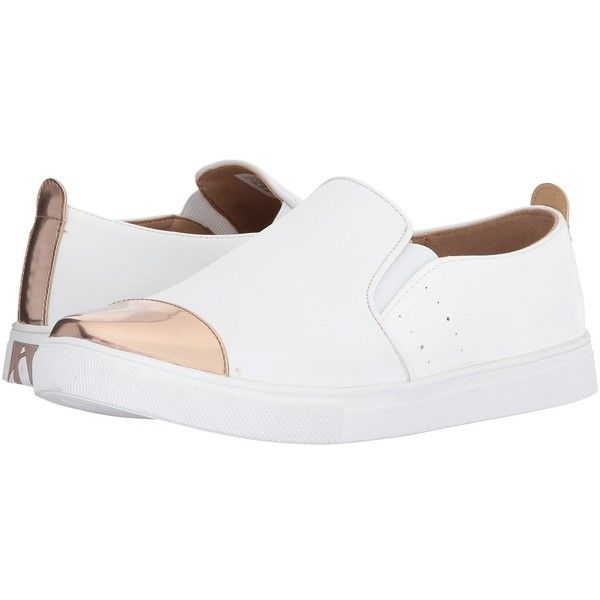 SKECHERS Moda (White/Rose Gold) Women's Slip on  Shoes (14.905 HUF) ❤ liked on Polyvore featuring shoes, wedge heel shoes, metallic slip on shoes, white wedge shoes, perforated shoes and rose gold metallic shoes