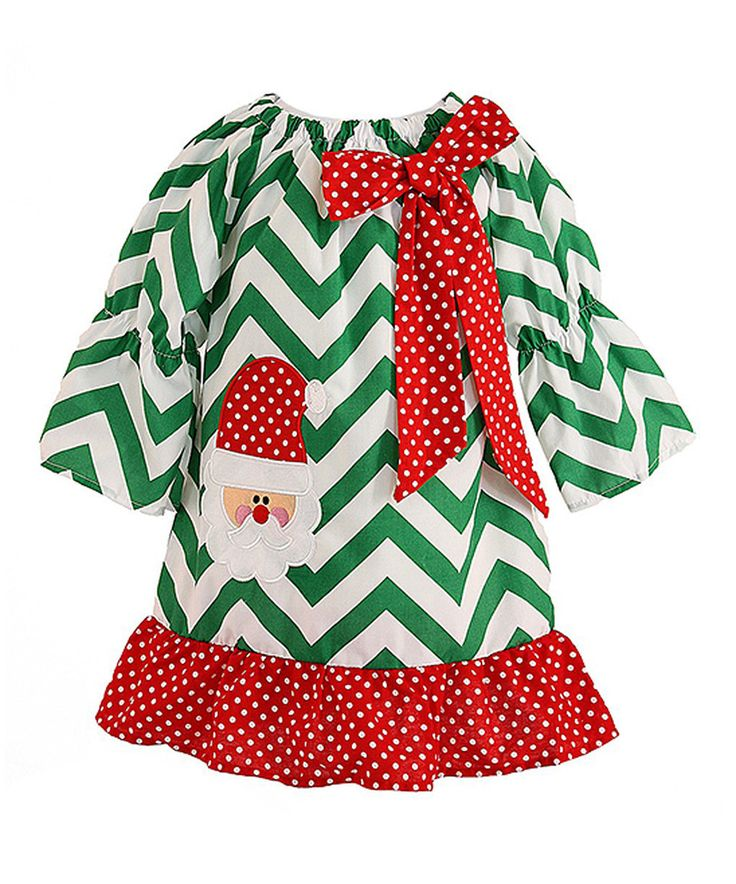 Look what I found on #zulily! Green Chevron Santa Dress - Infant, Toddler & Girls by Royal Gem #zulilyfinds