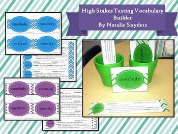 "Year round vocabulary builder for upper elementary and middle school students!  40 vocab words found frequently in ""high stakes"" testing with definitions and worksheets."