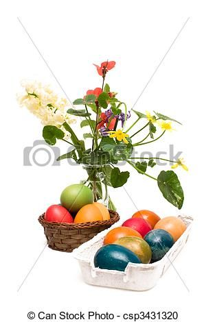 Stock photo available for sale at Can Stock Photo: Easter Arrangement - Isolated On White Background - stock image, images, royalty free photo, stock photos, stock photograph, stock photographs, picture, pictures, graphic, graphics