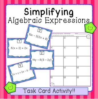 Simplifying Algebraic Expressions Task Card Activity (SCOOT!)