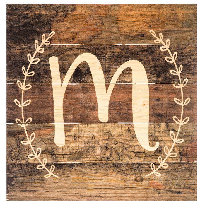 Monogram Letter Wood Wall Decor - M
