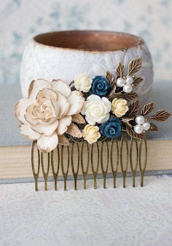 Rose Hair Comb Cream Ivory Rose