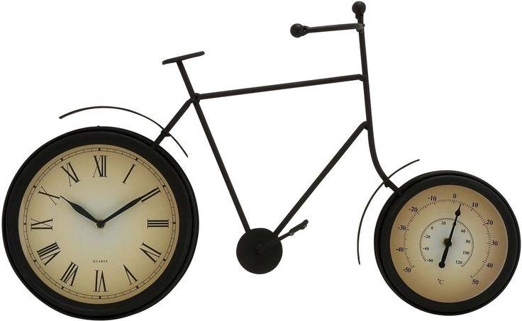 Metal 13-inch Thermometer Clock #Metalinch #Clock #VintageClock #HomeDecor  #Rustic #Vintage #RusticClock #Bicycle