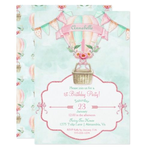 251 best watercolor birthday invitations images on pinterest hot air balloon first birthday pink mint peach invitation stopboris Images