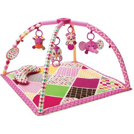 Infantino See Play Go Sweet Safari Twist & Fold Activity Gym & Play Mat, Multicolor