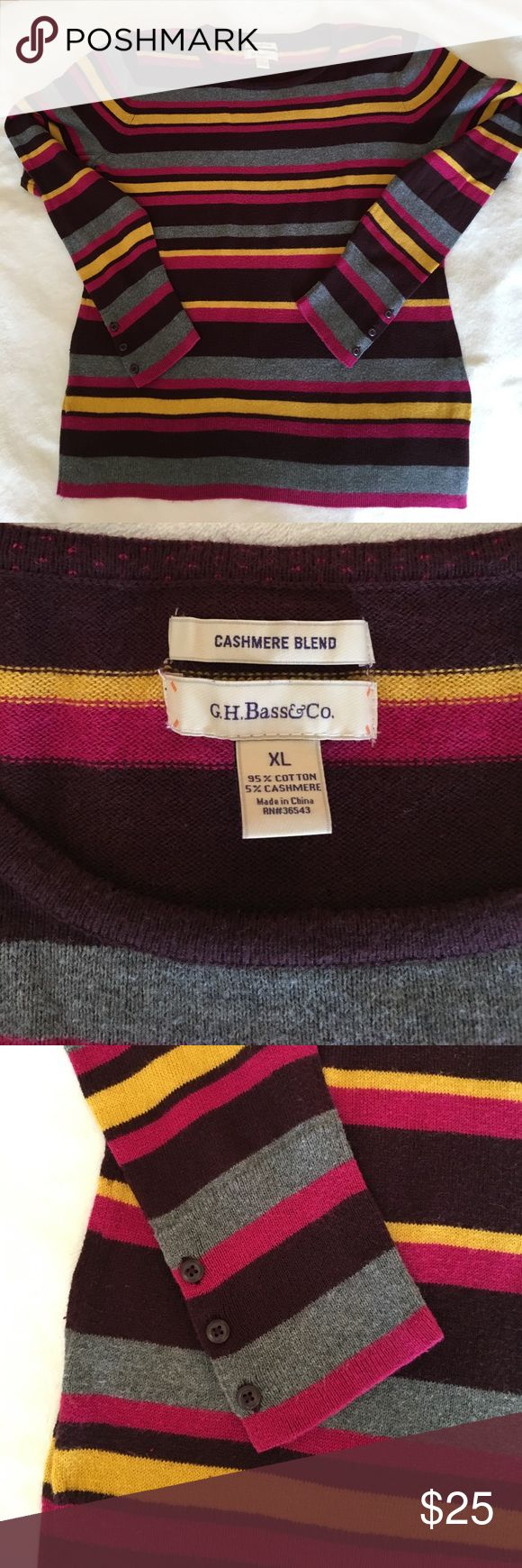 "Bass cashmere blend sweater Striped 5% cashmere 95% cotton blend sweater in XL from GH Bass. Worn 2-3 times. Length is 25"" from shoulder. Gray, fuschia, wine and yellow variegated stripes Bass Sweaters Crew & Scoop Necks"