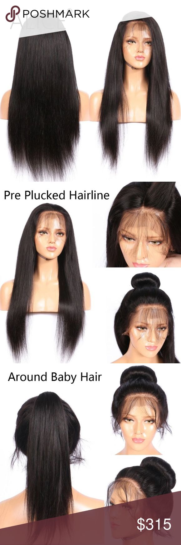 Alice full lace Brazilian Strait Hair Wig ALICE 150 Density Full Lace Human Hair Wigs With Baby Hair Silky Straight Brazilian Non Remy Hair Wigs No Tangle No Shedding Other