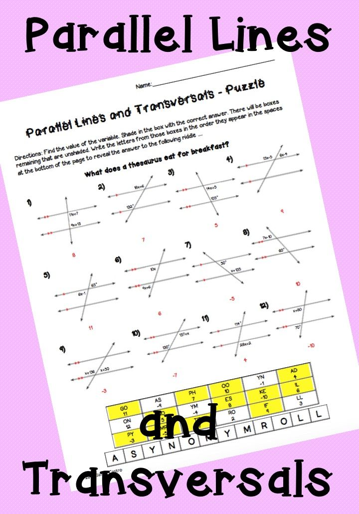 Parallel lines and transversals activity worksheet. Vertical angles, Corresponding angles, Alternate interior and alternate exterior angles, Linear pairs