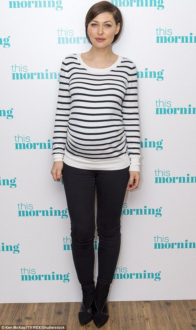 Proud mother-to-be: Emma Willis proudly showcased her burgeoning baby bump, as she made an appearance on ITV's This Morning, on Wednesday