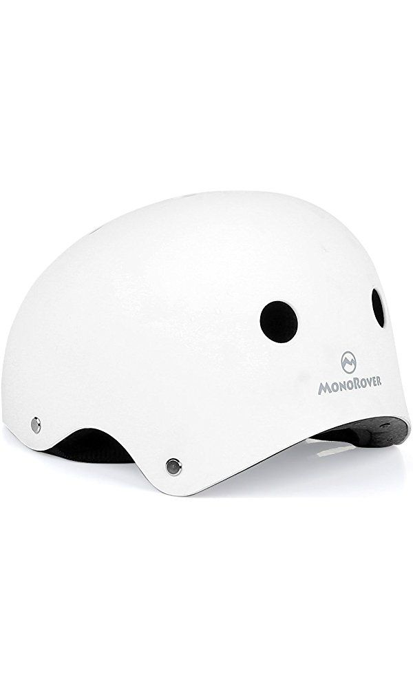 Sport Helmet, MonoRover, Multi-Sport Accessories with Adjustable Straps for Biking, Skating, Skiing or Any Other Sports that Require Protective Headgear, White (M size) Best Price