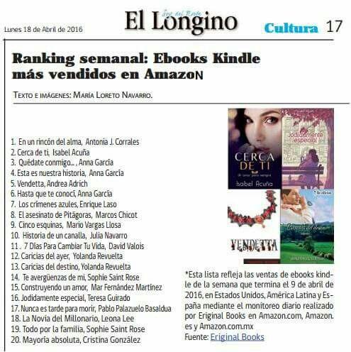 Esta lista refleja las ventas de ebooks kindle de la semana que termina el 9 de abril de 2016, en Estados Unidos, América Latina y España mediante el monitoreo diario en Amazon.com, Amazon.es y Amazon.com.mx, publicada en «El Longino» de Chile. (Página 17: Cultura)  Entre otros títulos a destacar: http://diariolongino.cl/wp-content/uploads/2016/04/longinoiqqabril18.pd