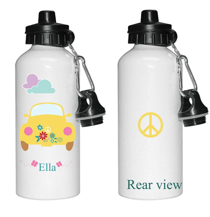 Persinalized kids water bottle, Party favour, Drinks bottles for little girls, V W Car printed water bottle, by cjcprint on Etsy