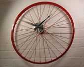 Red and chrome Bike Bicycle wheel clock