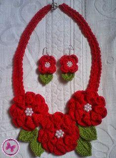 Ponto Com Artesanatos: Gargantilha de Crochê - Flor Camélia vermelho vivo