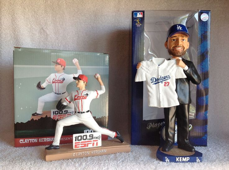 Matt Kemp Bobblehead and Clayton Kershaw Statue