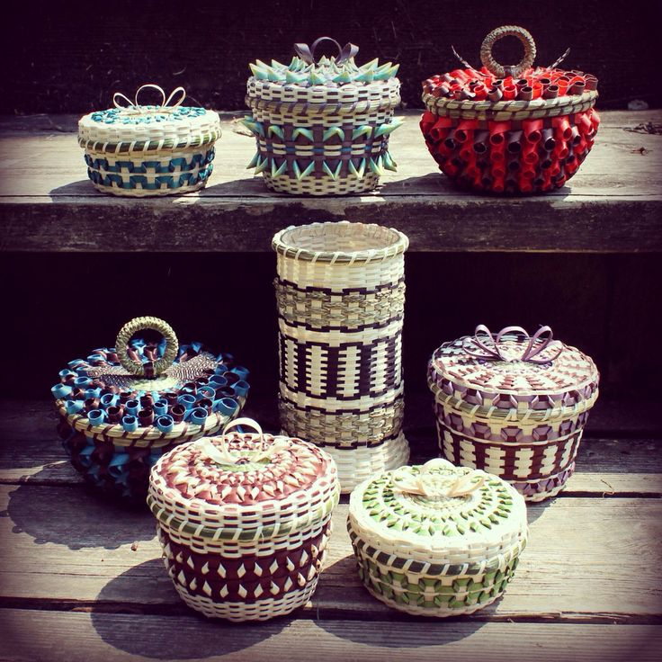 Collection of contemporary Mohawk basketry by Mohawk basket maker, Ann Mitchell.