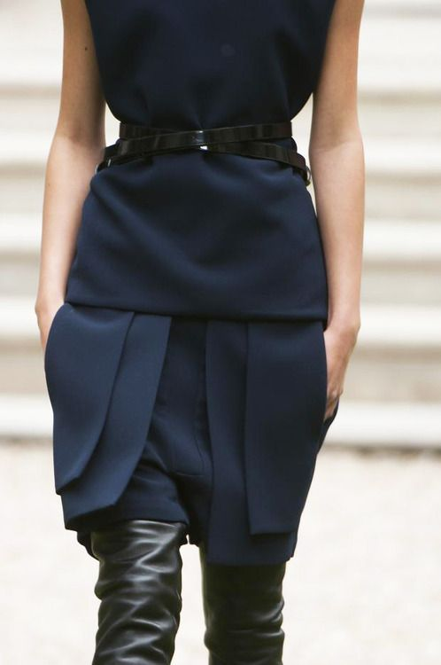 Navy + leather