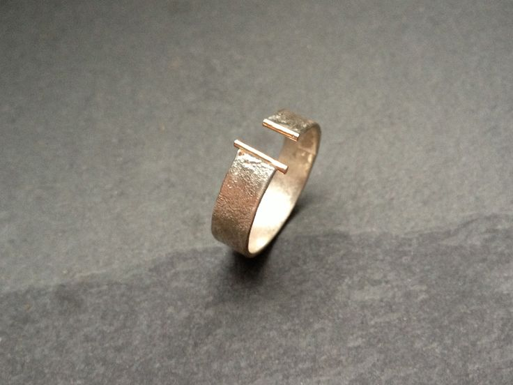Ring 925 sterling silver reticulated gold