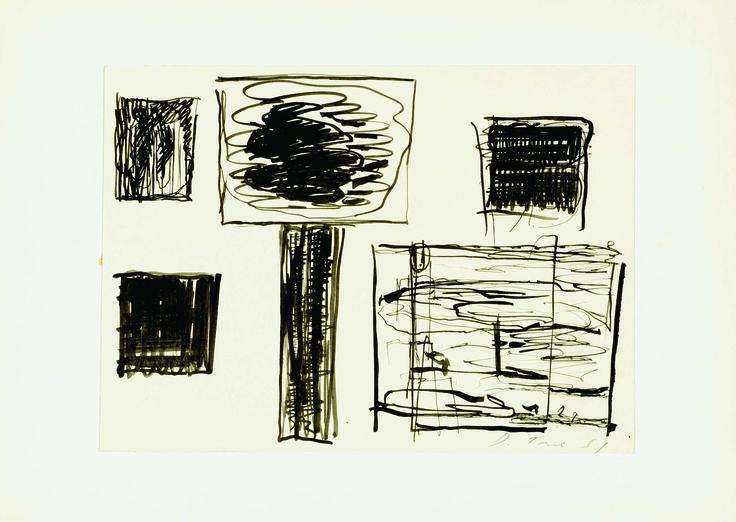 """ENRICO DELLA TORRE, """"Studi"""" 1969,  tecnica mista su carta, cm 17,5x24"""
