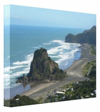 Lion Rock on famous Piha Beach with it's magnificent surf. An Auckland West Coast beach.