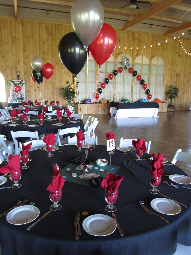 Casino prom balloons in silver black and red at maneeley - Black silver and white party decorations ...