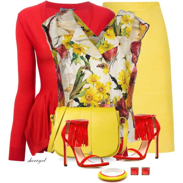 Floral Top For Spring by sherryvl on Polyvore featuring Alexander McQueen, Dolce&Gabbana, J.Crew, Stuart Weitzman, See by Chloé, Caipora Jewellery and Metropark