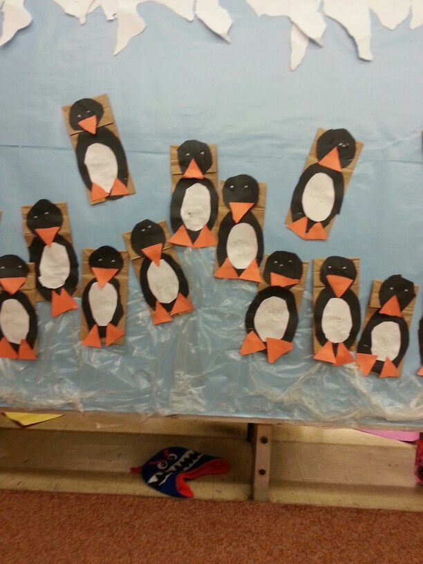 Brown paper bag penguin puppets! Creates opportunities for dramatic play as well.