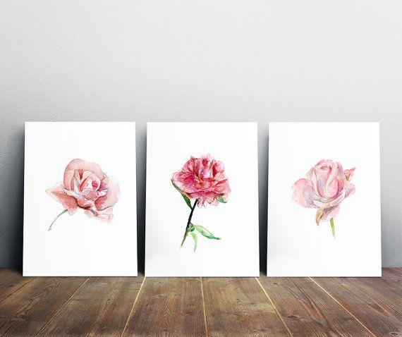 Rozen set  roze Roos Aquarel  print  pioenroos door Zendrawing