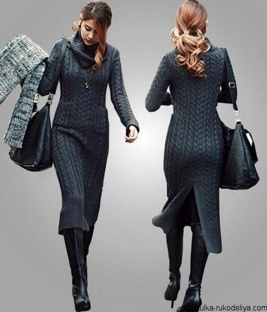 длинное вязаное платье спицами с косами модная в этом сезоне модель