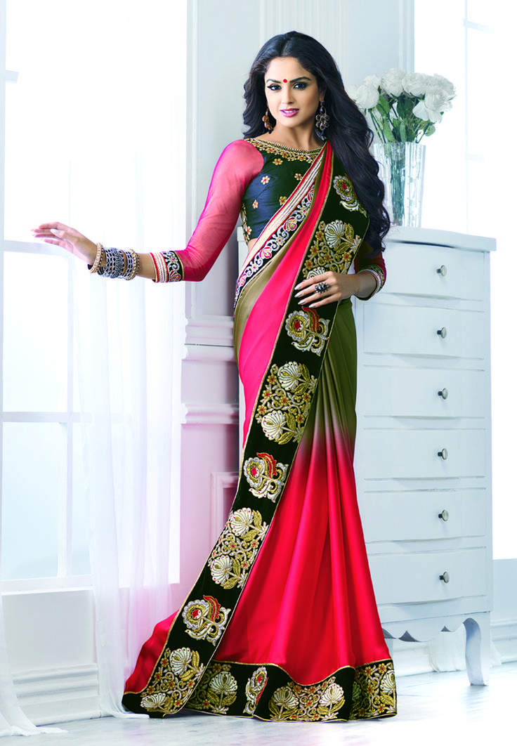 Red and green shades #silk #designer #partywearsaree with black embroidery border