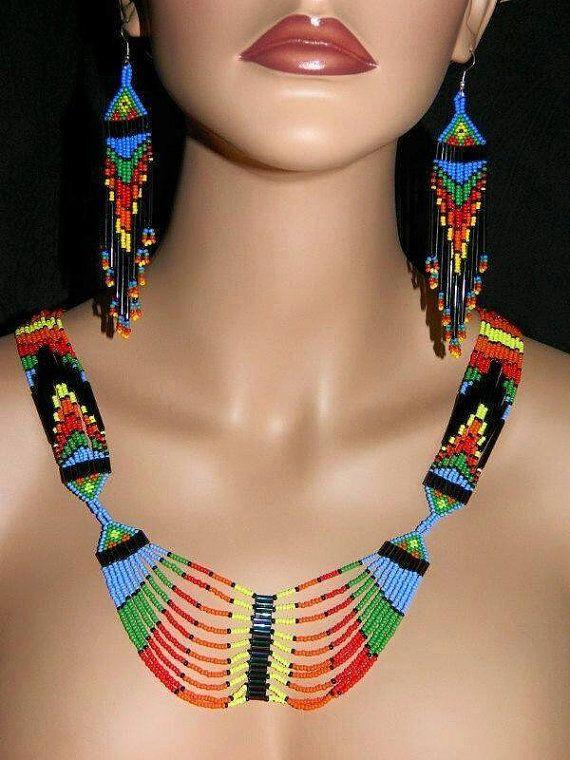 Joyas nativas moda colorido collar largo con cuentas por ANASIS