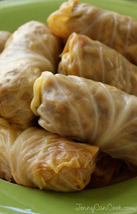 Polish Cabbage Rolls recipe from Jenny Jones (JennyCanCook.com) - Simple recipe using ground sirloin, rice, and mushrooms - lots of raves.